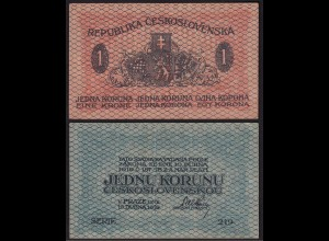 TSCHECHOSLOWAKEI - CZECHOSLOVAKIA 1 Koruna 1919 VF Pick 6 (14977