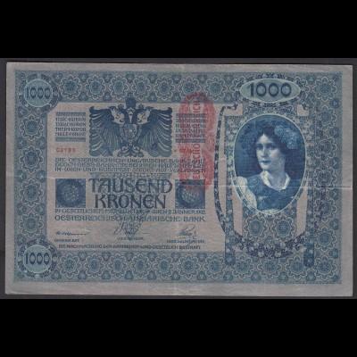 Österreich - Austria 1000 Kronen 1919 (1902) Banknote Pick 59 VF- (3-) (25859