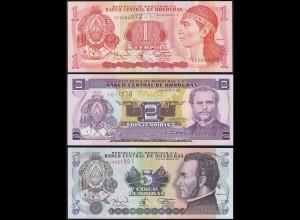 Honduras 1,2,5 Lempira 3 Stück Banknoten 1994/04 UNC (1) (14174