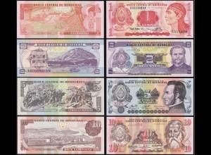 Honduras 1,2,5,10 Lempira 4 Stück Banknoten 1992/08 UNC (1) (14173