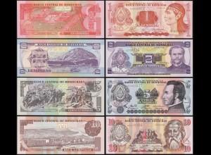 Honduras 1,2,5,10 Lempira 4 Stück Banknoten 2006/08 UNC (1) (14172