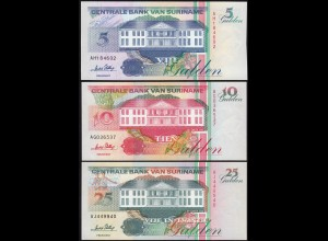 Suriname - 5, 10, 25 Gulden Banknoten 1996 UNC (1) Vögel Birds (14170
