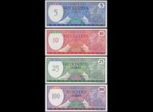 Suriname - 5, 10, 25 + 100 Gulden Banknoten 1982/85 UNC (1) (14169