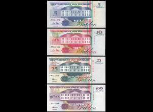 Suriname - 5,10,25+100 Gulden Banknoten 1996/98 UNC (1) Vögel Birds (14168