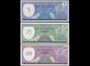 Suriname - 5, 25 + 100 Gulden Banknoten 1982/85 UNC (1) (14167