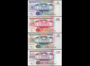 Suriname - 5,10,25+100 Gulden Banknoten 1998 UNC (1) Vögel Birds (14166