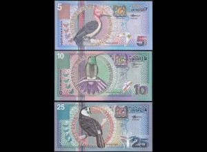 Suriname - 5,10,25 Gulden Banknoten 2000 UNC (1) Vögel Birds (14165