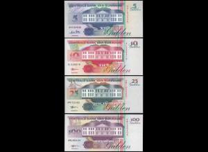 Suriname - 5,10,25+100 Gulden Banknoten 1996/98 UNC (1) Vögel Birds (14164