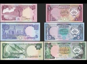 Kuwait - 1,5,10 Dinars Banknoten (1968) UNC (1) (14162