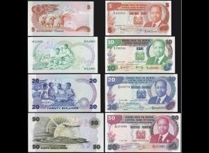 KENIA - KENYA 5,10,20,50 Shillings Banknoten 1982/87 UNC (1) (14160