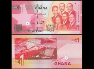 Ghana 1 Cedi Banknote 2010 Pick 37 UNC (1) (14152