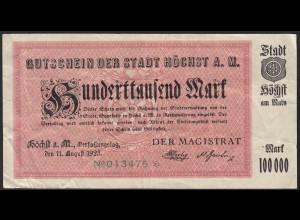 Höchst 100 tausend Mark Gutschein 1923 Notgeld F (4) (13825