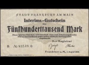 Hessen - Frankfurt 500 tausend Mark Interims-Gutschein Notgeld F(4) (13827