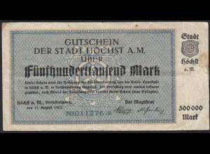 Höchst 500 tausend Mark Gutschein Notgeld VG (5) (13828
