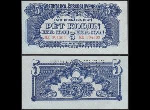 Tschechoslowakei - CZECHOSLOVAKIA 5 Korun 1944 Pick 46s UNC (1) SPECIMEN