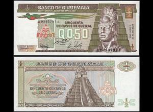 Guatemala - 1/2 = 0.5 Quetzal 1988 Pick 65 UNC (1) (15699