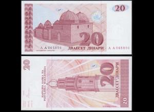 MAZEDONIEN - MACEDONIA 20 Denari 1993 UNC (1) Pick 10 (14381