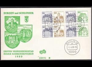 1.4.1980 Berlin Heftchenblatt HBl. 19 FDC (25889