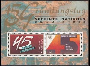 UNO Wien 1990 45 Jahre Vereinte Nationen Block 5 postfr. (25890