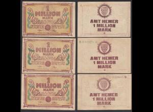 Westfalen - Hemer Amtskasse 3 Stück á 1 Million Mark Serie A,B,C 1923 Notgeld