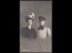 AK Foto 1905 Kronprinz Wilhelm mit Braut Adel Monarchie (25915