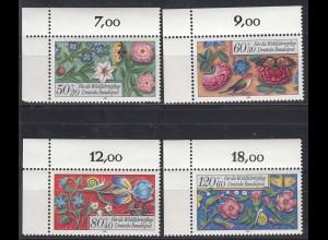 Bund BRD Wohlfahrt 1985 Mi 1259-1262 Blumen Eckrand links oben ** (25922