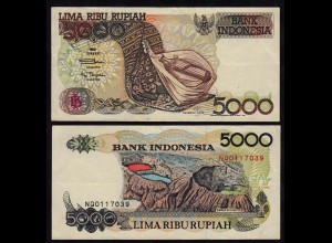INDONESIEN - INDONESIA 5000 RUPIAH Banknote 1992/1997 Pick 130f VF (3)