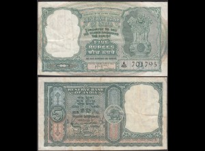 Indien - India - 5 RUPEES Pick 35b sig.74 F/VF (3/4) Letter A (24348