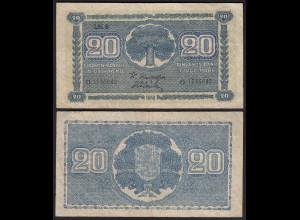 FINNLAND - FINLAND 20 MARKKA 1945 Litt. B PICK 78a F/VF (3/4) Serie O (23657