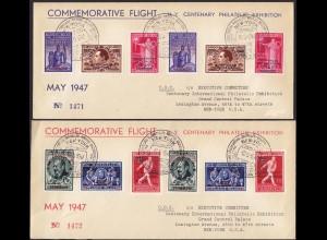 Belgien 1947 CIPEX Ausstellung 2 Flug-Briefe Brüssel-New York 781-89