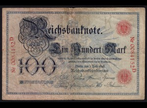 Reichsbanknote 100 Mark 1898 Ro.17 - Pick 20 Serie D UDR K (4) F (23406