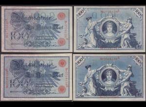 Reichsbanknote 2 x 100 Mark 1908 Ro.33b Serie E+F UDR A+D XF- (2-) (23407