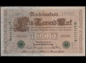 Reichsbanknote 1000 Mark 1910 Ro.46b Serie B Udr E aUNC (1-) (23404