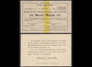 Datteln Westfalen 3 Mark Kriegs-Wechsel-Schein 1914 (25929