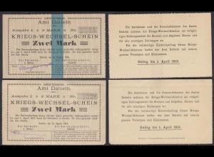 Datteln Westfalen 2 Stück á 2 Mark Kriegs-Wechsel-Schein 1914 (25932