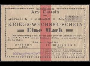 Datteln Westfalen 1 Mark Kriegs-Wechsel-Schein 1914 (25931