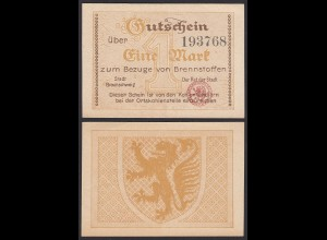 Niedersachsen - Braunschweig 1 Mark für Brennstoffe Gutschein/Notgeld (20402