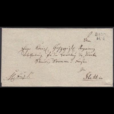 Preussen Pommern ca. 1825 Umschlag von BAHN L2 nach STETTIN (24577