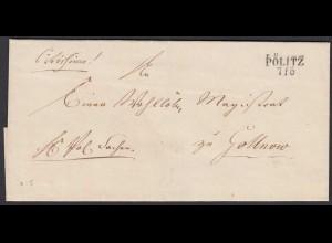 Preussen Pommern ca. 1825 Umschlag von ÜÖLITZ nach GOLLNOW (24574