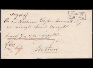 Preussen Umschlag WOLGAST R2 nach STETTIN (24570