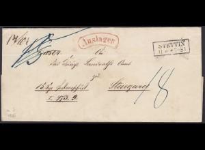 Preussen Brief 1855 STETTIN R2 Auslagen nach STARGARD (24568