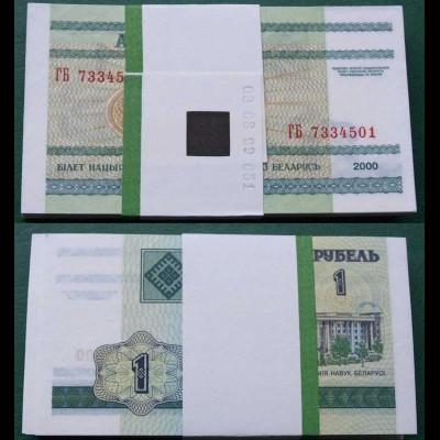 Weißrussland - Belarus 1 Rubel 2000 UNC Pick 21 BUNDLE zu 100 Stück (90001