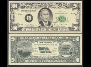 USA 2001 Dollar Schein George W. Bush Gedenk-Note 11. September 2001 (26132