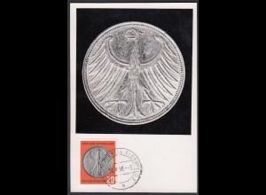BRD Bund 1958 Maximumkarte 10 J. DM Mi.291 Deutsch Mark German Coin (26141