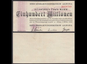 Reichsbahndirektion Altona 100 Millionen Mark 1923 (26087