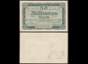 Wald Kreis Solingen 50 Millionen Mark 1923 Notgeld Serie G Starnote rot (26122