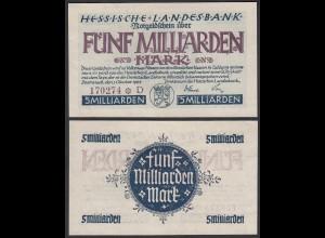Hessische LANDESBANK 5 Milliarden Mark 1923 Notgeld Serie D violett Star (26121