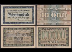 Württemberg Länderbanknoten 2 Stück 10 + 100 tausend Mark 1923 (26130