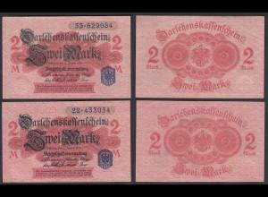 Darlehnskassenschein 2 Stück á 2 MARK 1914 Ro 52d Serie 22 + 33 XF (2) (26160