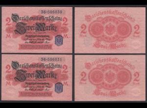 Darlehnskassenschein 2 Stück á 2 MARK 1914 Ro 52d Serie 36 Paar aUNC (1-) (26161